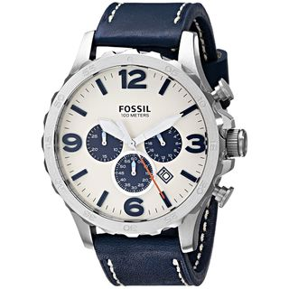 Fossil Men's JR1480 'Nate' Chronograph Blue Leather Watch