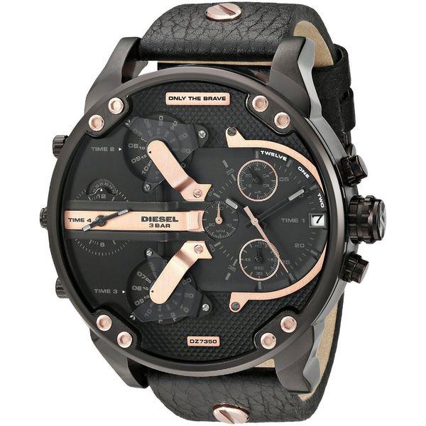 Diesel Men's DZ7350 'Mr. Daddy 2.0' Chronograph 4 Time Zones Black Leather Watch
