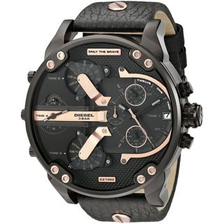 Diesel Men's DZ7350 'Mr. Daddy 2.0' Chronograph 4 Time Zones Black Leather Watch