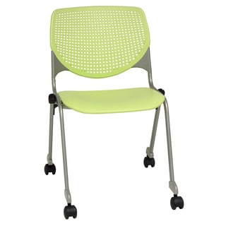 KOOL Series Polypropylene Stack Chair with Perforated Back and Casters