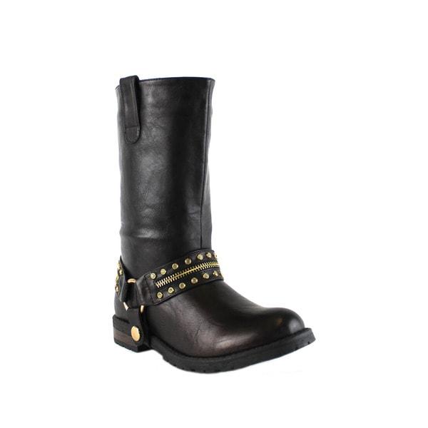 Olivia Miller 'Audubon' Multi Rhinestone Zip Ankle Strap Motorcycle Boots