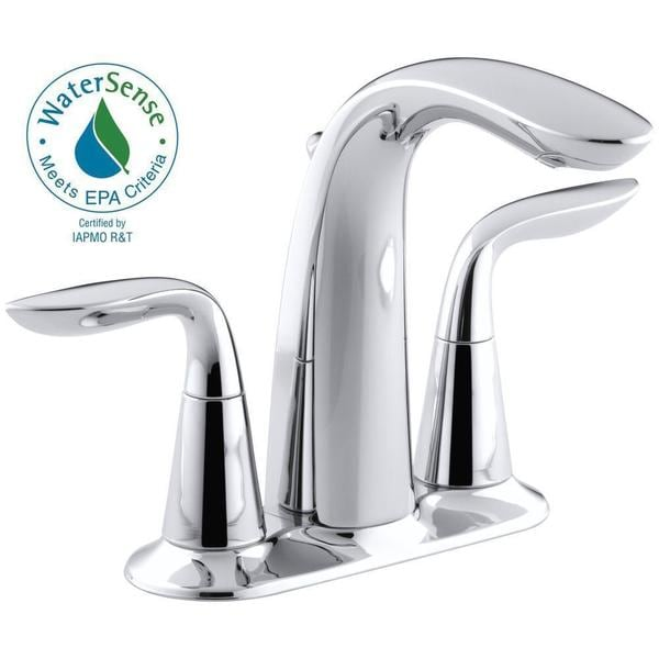 kohler refinia 4 inch centerset 2 handle bathroom faucet in polished