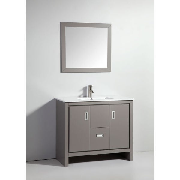 39-inch Light Grey Solid Wood Sink Vanity with Mirror