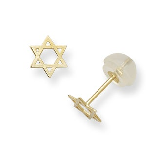 14k Yellow Gold Children's Star of David Post Earrings