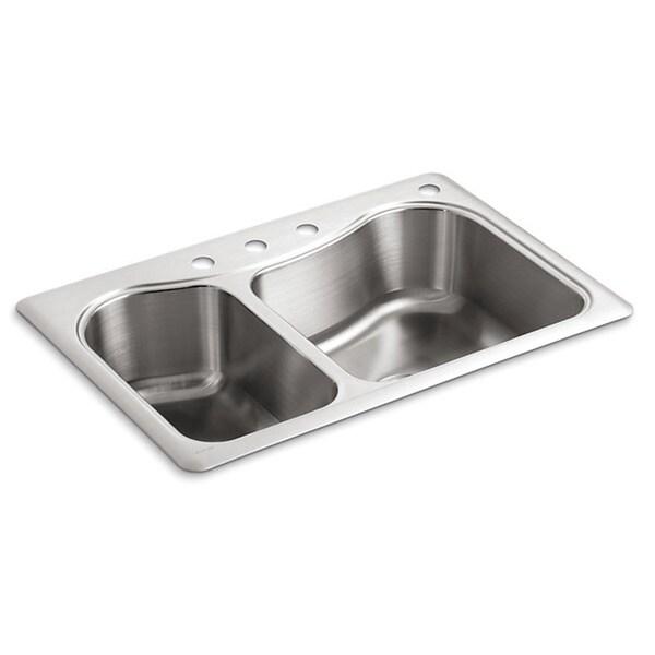 Kohler Staccato Sink : Kohler Staccato Large/Medium Self-Rimming Stainless Steel 33 inch 4 ...