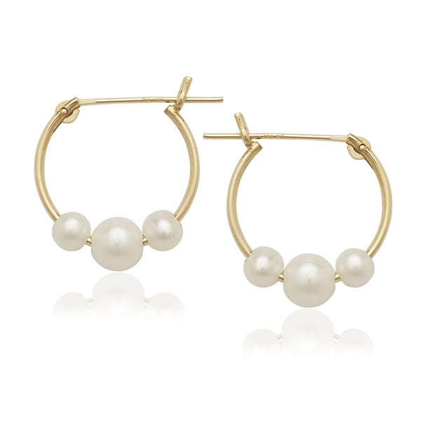 14k Freshwater Triple Pearl Hoop Earrings (3-4mm)