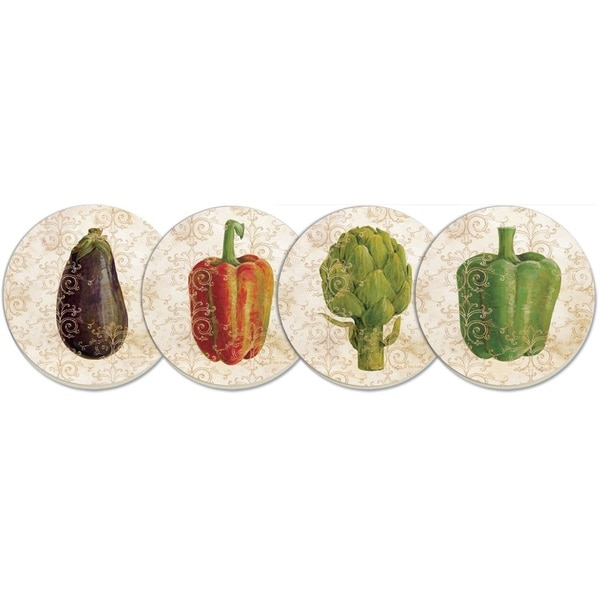 Absorbent 4-piece Gourmet Vegetables Stone Coaster Set
