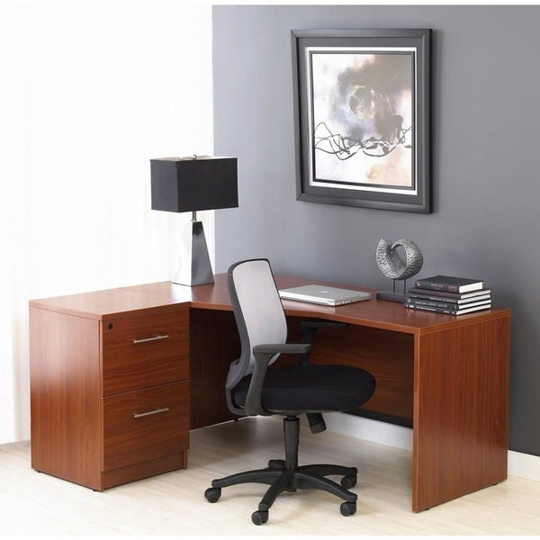 Corner L Shaped Desk with Filing Cabinet in Cherry
