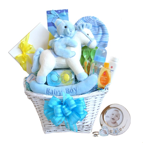 Rockinghorse and Frame Baby Boy Gift Basket