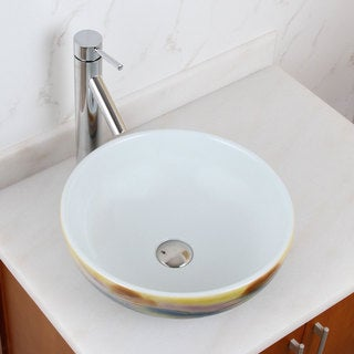 Elite 1577+2659 Round Magic Color and White Porcelain Ceramic Bathroom Vessel Sink with Faucet Combo