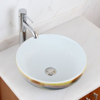 Elite 1577+f371023 Round Magic Color and White Porcelain Ceramic Bathroom Vessel Sink with Faucet Combo