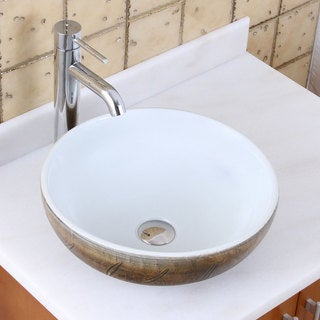 Elite 1576+f371023 Round Autumn Leave and White Porcelain Ceramic Bathroom Vessel Sink with Faucet Combo