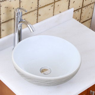 Elite 1575+882002 Round White and Gray Willow Porcelain Ceramic Bathroom Vessel Sink with Faucet Combo