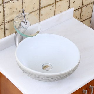 Elite 1575+f22t Round White and Gray Willow Porcelain Ceramic Bathroom Vessel Sink Waterfall Faucet Combo
