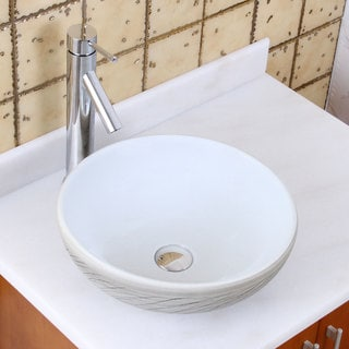 Elite 1575+2659 Round White and Gray Willow Porcelain Ceramic Bathroom Vessel Sink with Faucet Combo