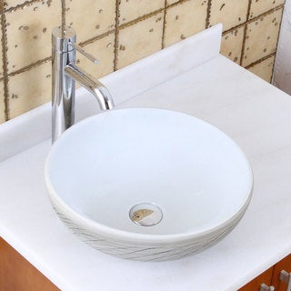 Elite 1575+f371023 Round White and Gray Willow Porcelain Ceramic Bathroom Vessel Sink with Faucet Combo