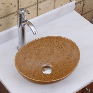 Elite 1565+882002 Oval Sandstone Glaze Porcelain Ceramic Bathroom Vessel Sink with Faucet Combo