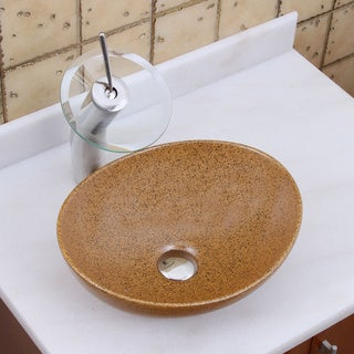 Elite 1565+f22t Oval Sandstone Glaze Porcelain Ceramic Bathroom Vessel Sink Waterfall Faucet Combo