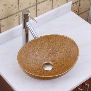 Elite 1565+2659 Oval Sandstone Glaze Porcelain Ceramic Bathroom Vessel Sink with Faucet Combo