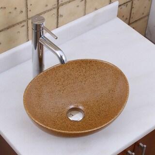 Elite 1565+f371023 Oval Sandstone Glaze Porcelain Ceramic Bathroom Vessel Sink with Faucet Combo