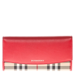 Burberry Horseferry Check and Leather Black Trim Continental Wallet