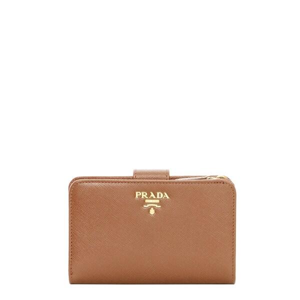 Prada Saffiano Camel Bi-fold Tab Wallet