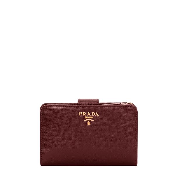 Prada Saffiano Burgundy Bi-fold Tab Wallet