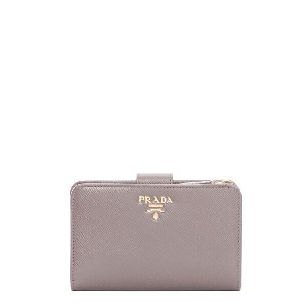 Prada Saffiano Stone Bi-fold Tab Wallet