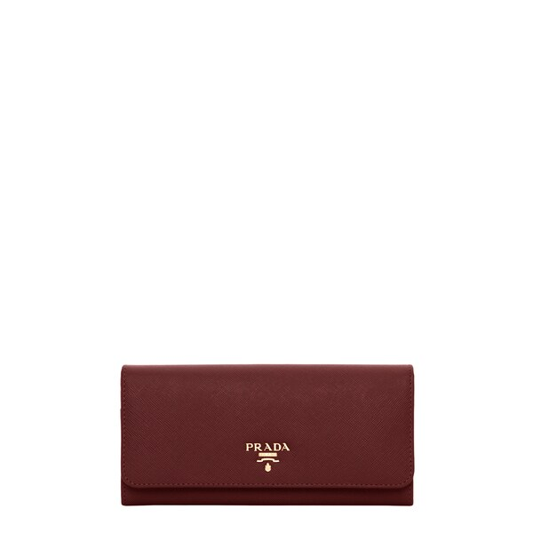 Prada Saffiano Burgundy Flap Wallet with Badge Holder
