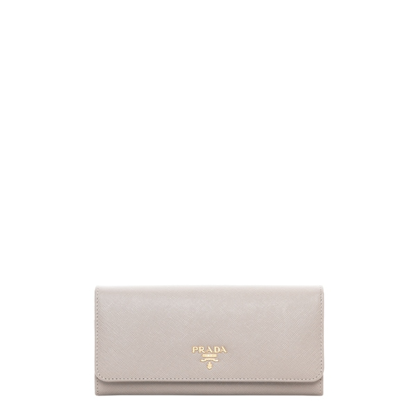 Prada Saffiano Flap Wallet with Badge Holder