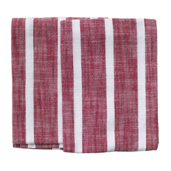 Dobby Stripe Red Kitchen Towels (Set of 2)