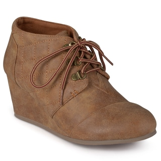 Journee Collection Women's 'Fold' Quilted Lace-up Wedge Booties