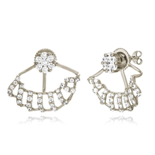 18k Goldplated or Black Rhodium-plated Sterling Silver Cubic Zirconia Flower and Spiral Effect Jacket Earrings