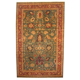 Herat Oriental Indo Hand-knotted Vegetable Dye Oushak Green/ Red Wool Rug (11'5 x 18'4)