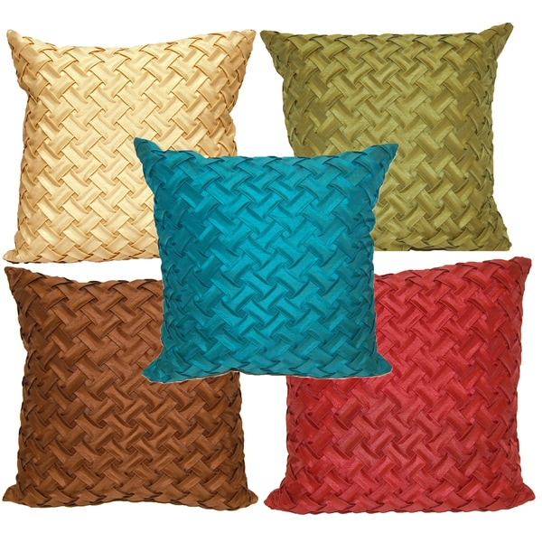Lattice Quilted 18-inch Square Throw Pillow