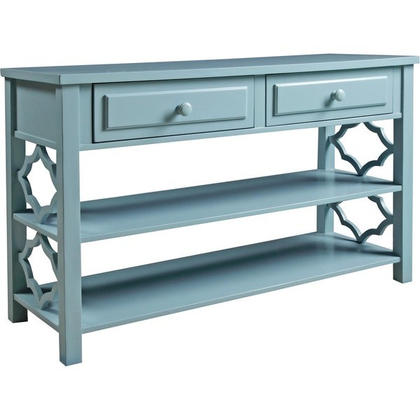 Panama Jack Colors Deep Sea Blue Console Table with Lattice End