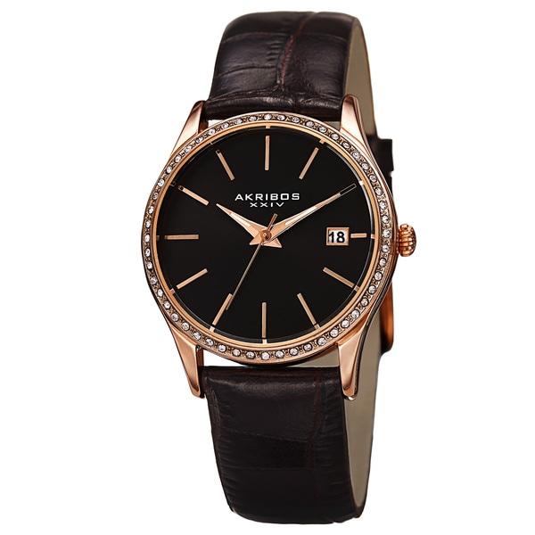 Akribos XXIV Women's Quartz Swarovski Crystal Leather Black Bracelet Watch