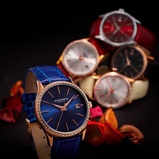 Akribos XXIV Women's Minimalist Dial Crystal Accent Leather Strap Watch