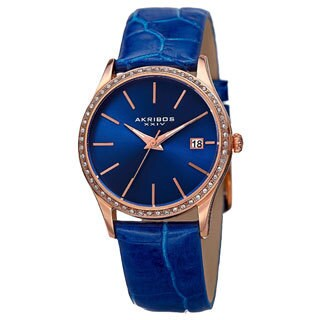 Akribos XXIV Women's Quartz Swarovski Crystal Leather Blue Bracelet Watch