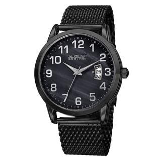 August Steiner Men's Japanese Quartz MOP Stainless Steel Mesh Bracelet Watch