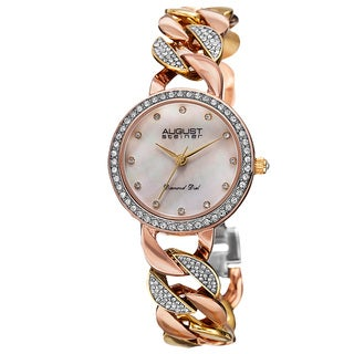 August Steiner Women's Japanese Quartz Diamond Alloy Bracelet Watch
