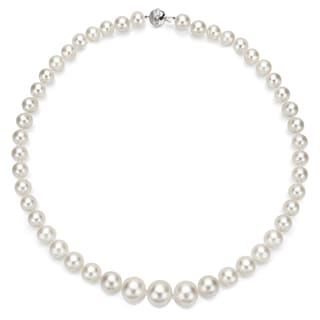 DaVonna 18k White Gold White South Sea Pearl and Diamond Necklace (10-12 mm)