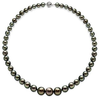 DaVonna 18k White Gold Black Tahitian Pearl and Diamonds Necklace (11-13 mm)