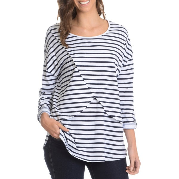 G9C Women's Stripe Peruvian Cotton T-Overlay Blouse White/ Navy