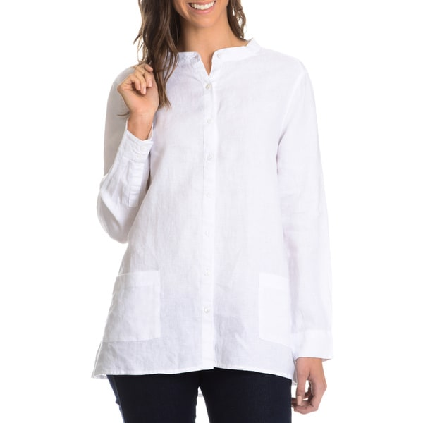 G9C Women's Woven 2 Pocket Front Linen Shirt