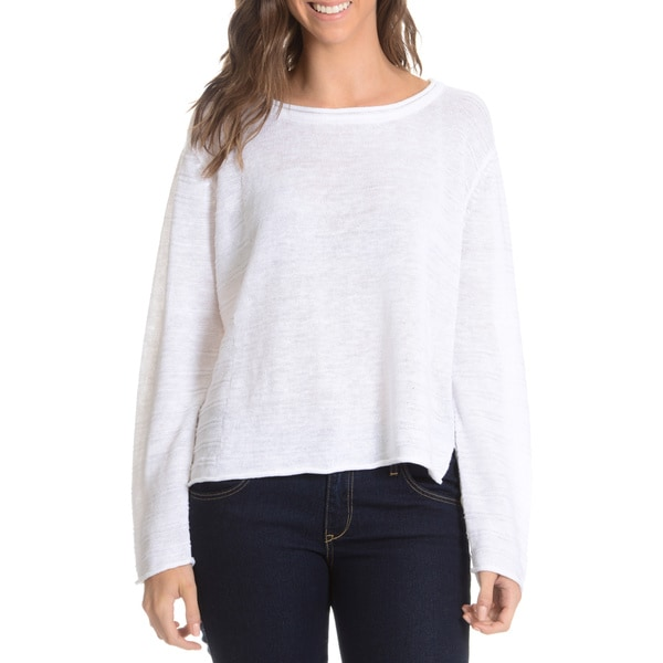 G9C Women's Linen Boxy Panels Knit Top