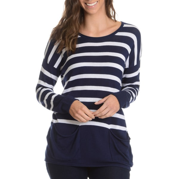 G9C Women's Stripe Boxy 2 Pocket Top