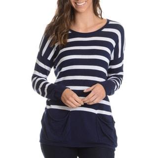 G9C Women's Stripe Boxy 2 Pocket Top