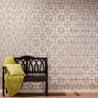 Fasade Traditional 2 Crosshatch Silver Wall Panel (4'x8')