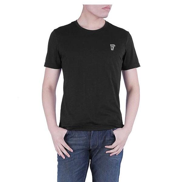 Versace Men's Black Crew Neck Medusa Logo Cotton T-Shirt